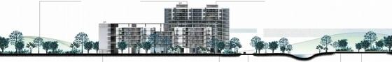 [广州]现代宜居亚运村地块规划设计方案文本-现代宜居亚运村地块规划剖面图