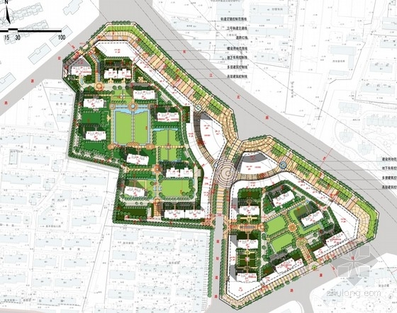 可持续发展住宅区总平面图