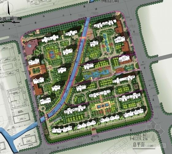 超高层Artdeco风格住宅区规划总平面图