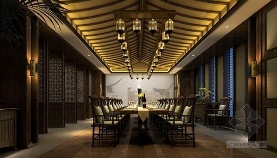 [江苏]江南水巷高端现代中式会所室内装修设计方案