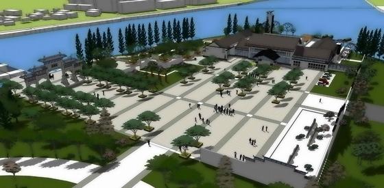 [安徽]徽派文化中央绿肺水口园林片区景观规划设计方案-鸟瞰图