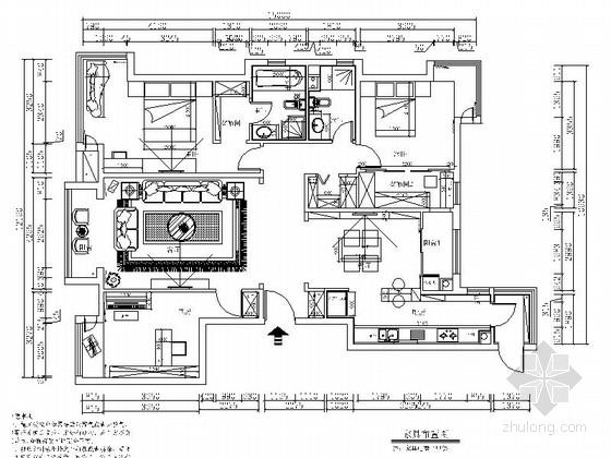[北京]知名企业现代简约风格四居室装修CAD施工图(含效果图)