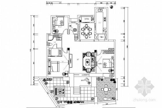 [杭州]高层围合舒适浓郁庭院生活小区田园风格两居室装修图(含效果图)