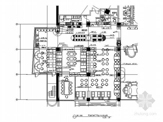 [南京]清新淡雅新古典主义设计风格自助西餐厅装修施工图(含高清效果图)
