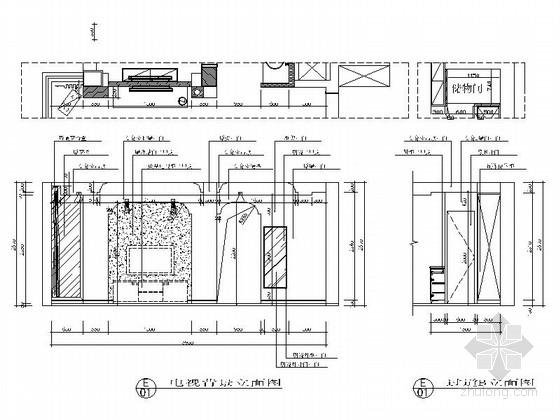[江苏]河畔花园简欧两居室样板间装修施工图客厅立面图