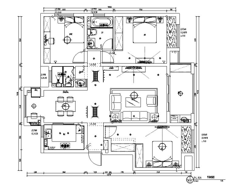 白色素雅山湖一号住宅设计施工图(附效果图)