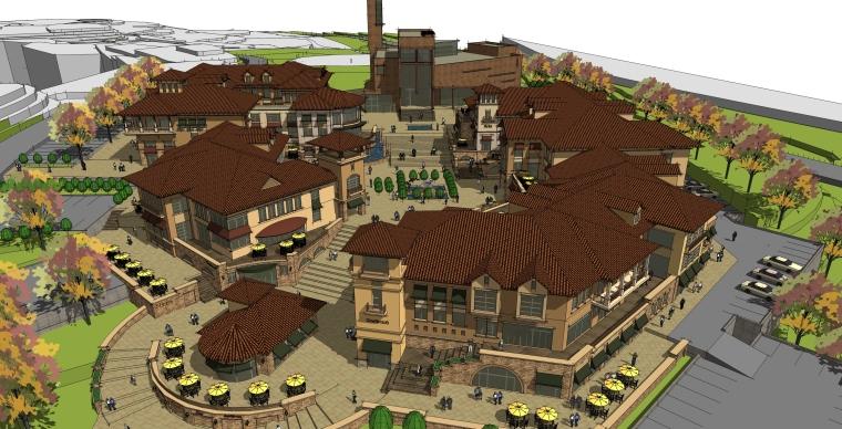 欧式商业街购物中心建筑SU模型
