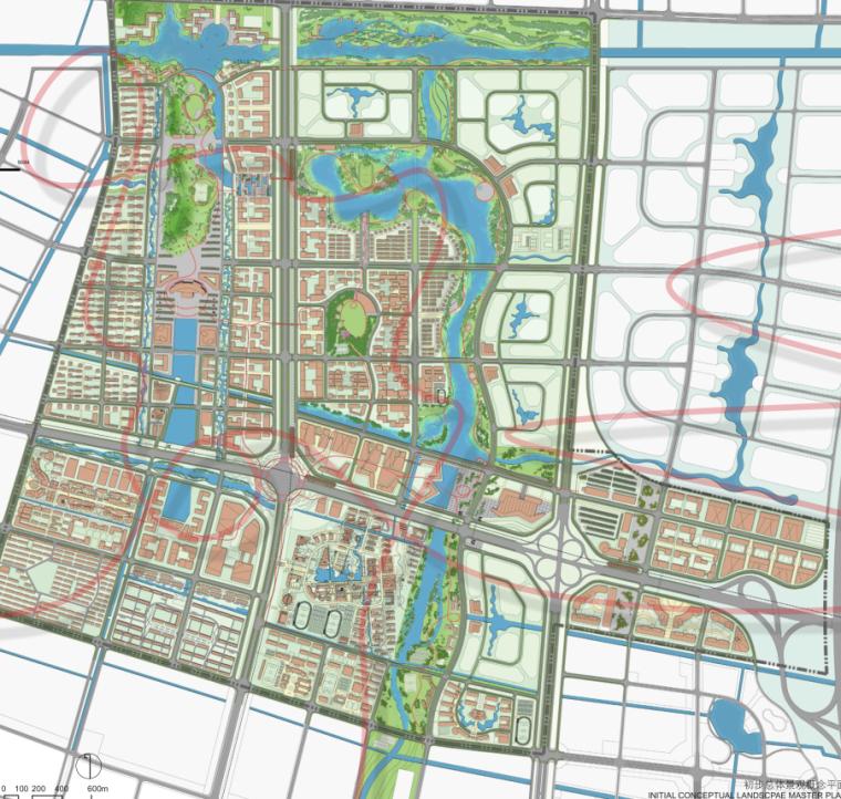 [江苏]南通市经济技术开发区核心区域景观规划(带状,水绿渗透)-B总平面图