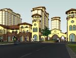 西班牙商业步行街精致建筑SU模型