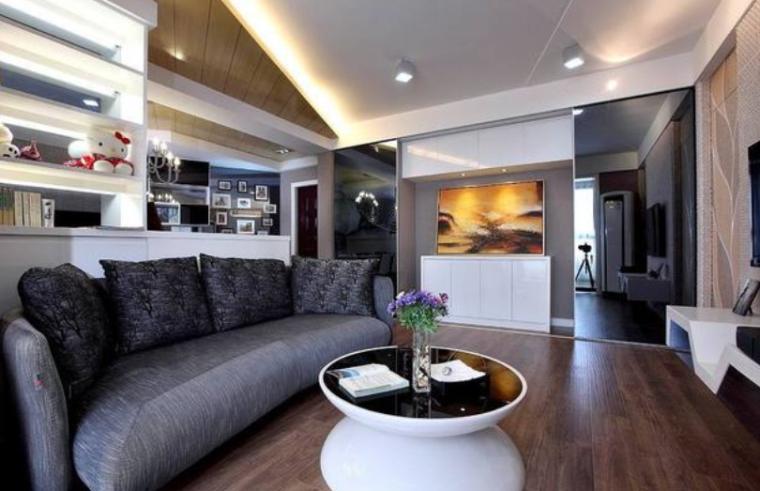 85平现代简约畸零户型巧设计二居室实景图
