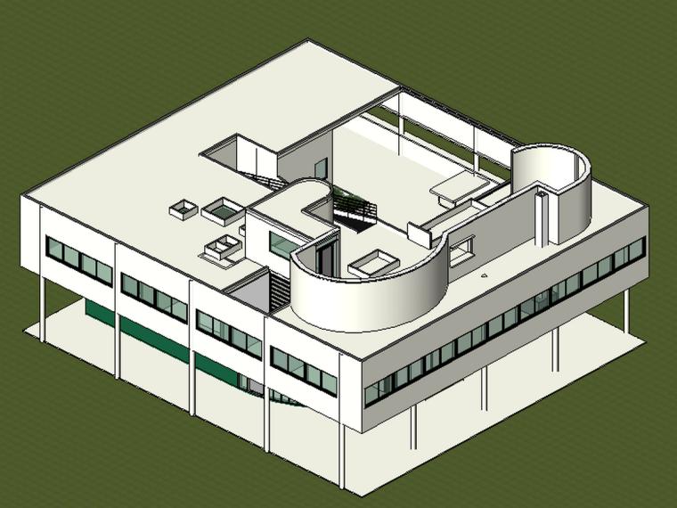 BIM模型-revit模型-萨伏伊别墅模型