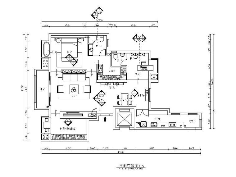 高端小户型单身公寓设计CAD施工图(含效果图)平面图