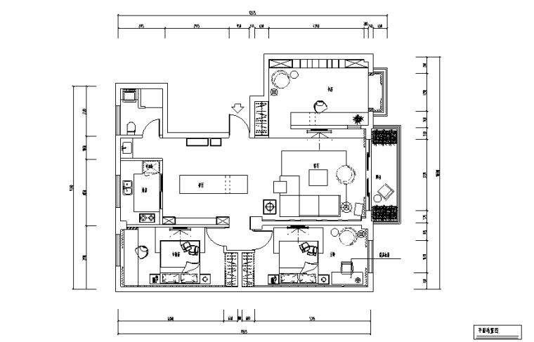 现代简约风格三居室住宅设计施工图(附效果图+模型)