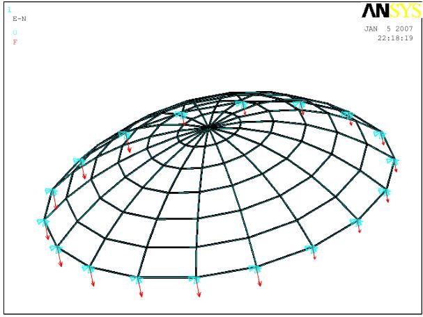 单层球面网壳整体稳定性分析
