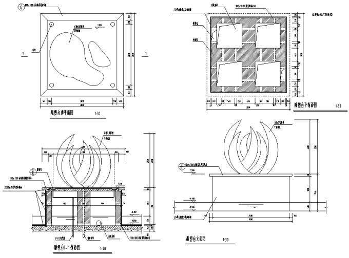 园林景观小品雕塑标志CAD施工图61张_2