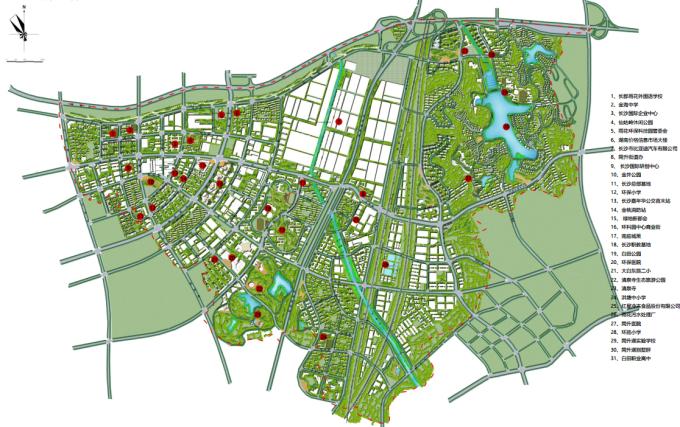 [湖南]生态海绵城市雨水环保科技工业产业园区景观设计方案(2016最新)-景观总平面图