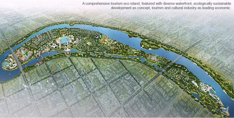 现代风格山东临沂屠苏岛初步度假村概念性规划设计
