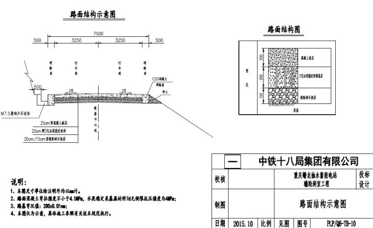 电站辅助洞室路面结构示意图