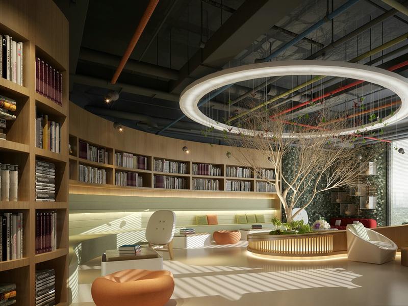 [3d成套模型]现代图书馆3d模型下载图片