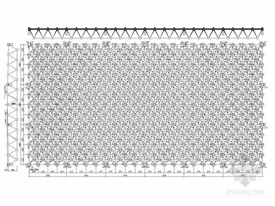 5层框架餐厅屋顶空间网架结构施工图