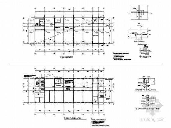 [上海]原框架结构标准厂房改建为六层框架结构办公楼改造加固结构施工图