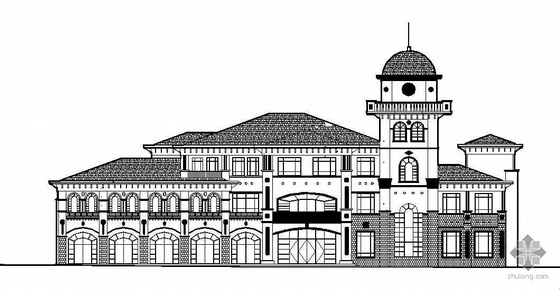 [大连]某三层欧式风格售楼中心建筑施工图