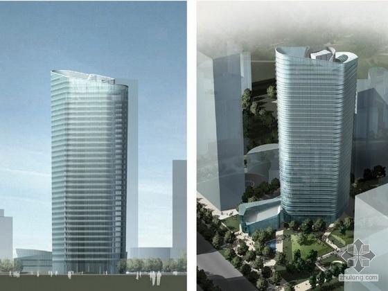 [上海]某三十二层办公楼方案设计文本(168米)