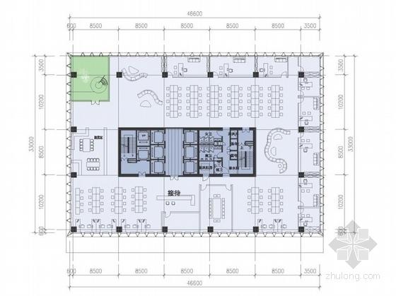 [广东]高层半围合式骑楼布局办公大厦建筑设计方案文本-高层半围合式骑楼布局办公大厦建筑平面图