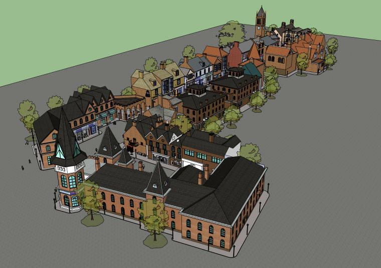 英式商业街精细建筑SU模型