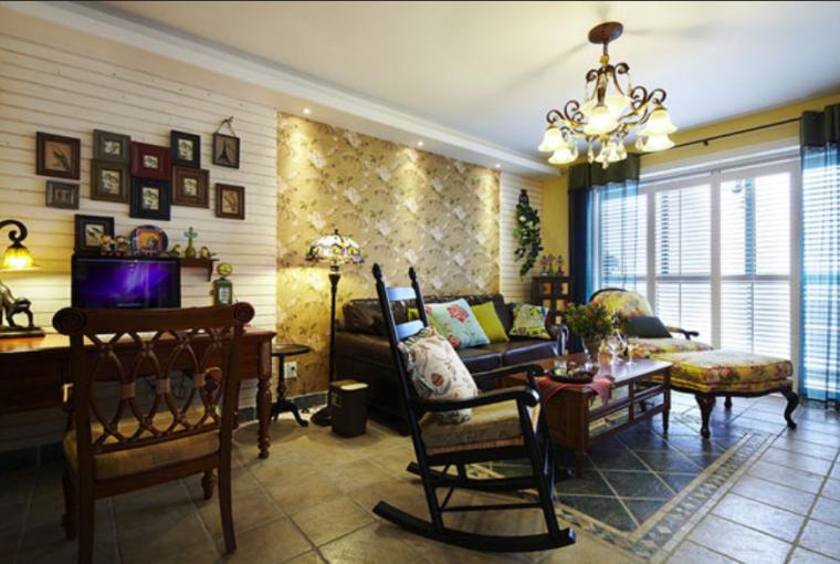 东南亚风混搭风格超唯美二居室室内设计实景图