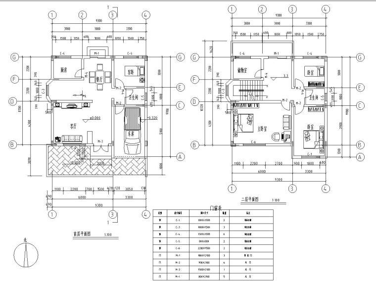 半框架半砖混结构独栋别墅建筑施工图设计-一二层平面图