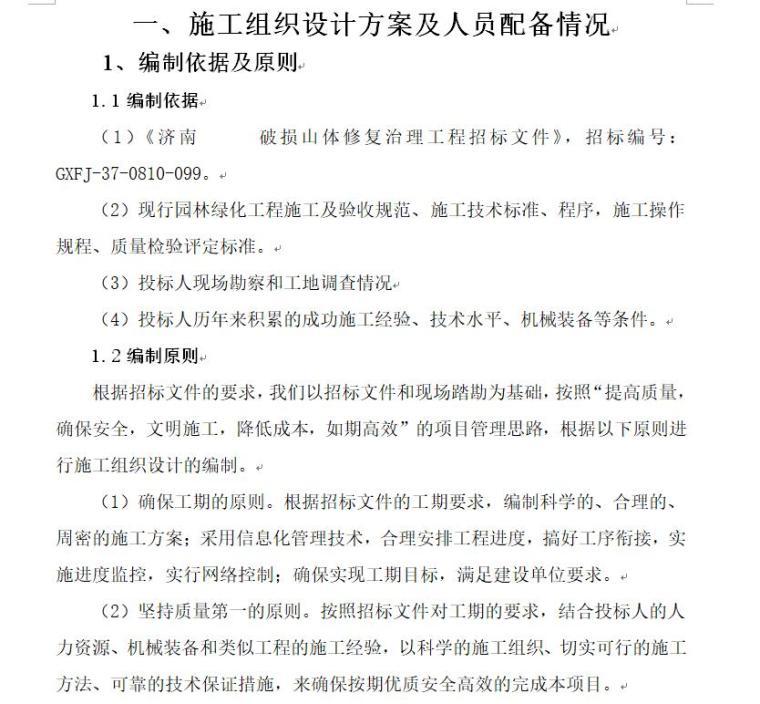 济南某园林山体修复治理施工方案(66页)