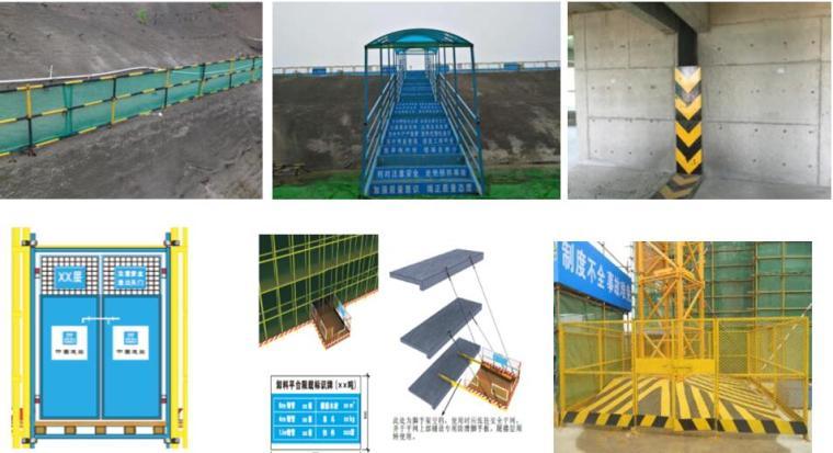 [海南]高层住宅及地下室工程项目管理策划书PPT(137页,图文并茂)-现场防护CIS标识清晰醒目