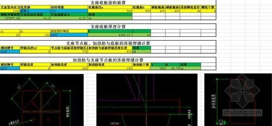 钢桁架支座节点计算表格