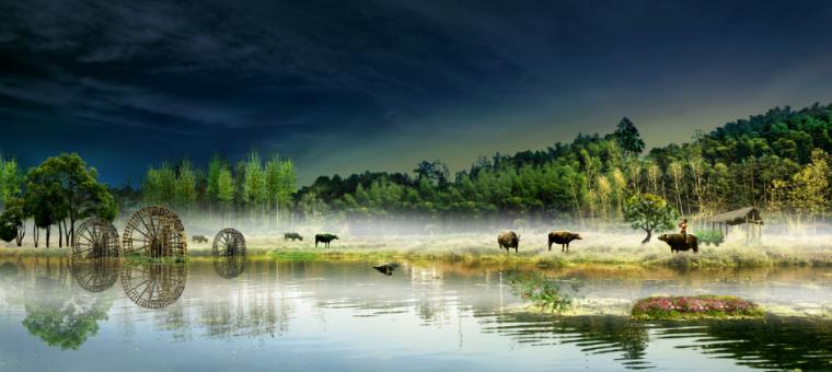 美丽乡村景观效果图PSD分层素材