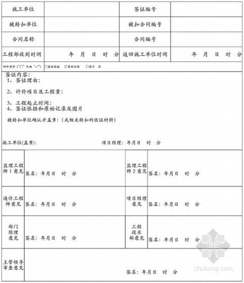 [重庆]地产集团施工单位现场签证工作指南(155页附表格)-转扣签证单