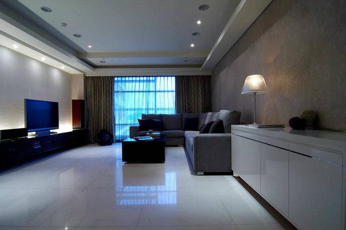 130平米二居室现代简约客厅背景墙设计效果图_5