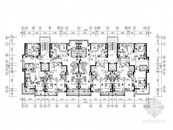 单元式住宅小区全套电气施工图纸83张(六栋住宅楼)