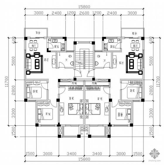 板式多层一梯二户三室一厅一卫户型图(92/92)