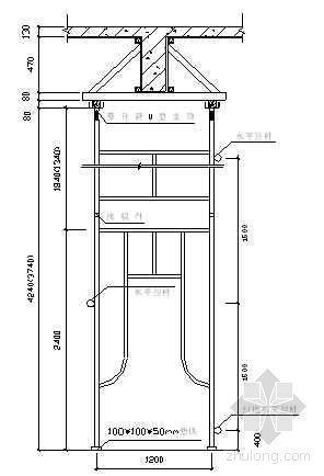 模板门式脚手架纵横向布置简图及木枋平面图