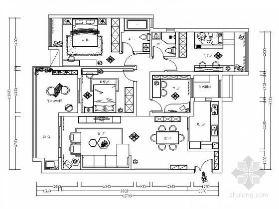 [广州]某四室两厅两卫设计装修图