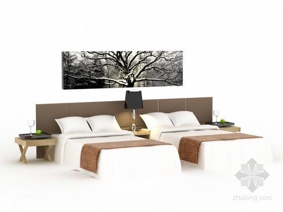 酒店标准间床3d模型下载