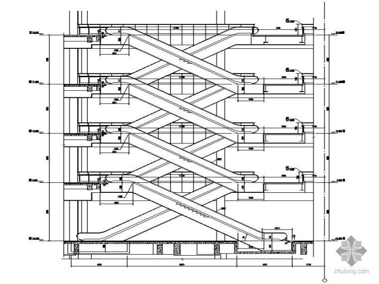 [威海市]某城市中心经典休闲购物广场-自动扶梯、公寓入口、屋面竖井大样图