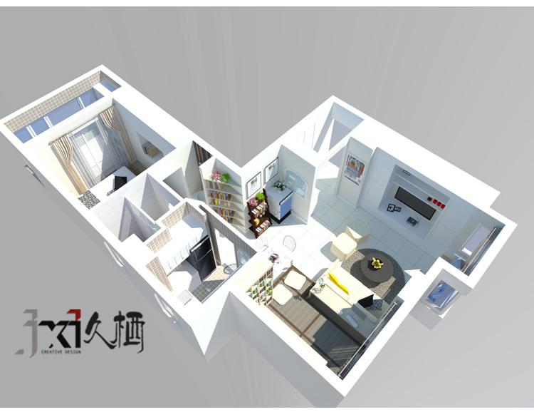 [久栖设计]福州市鹤林新城60㎡恋上小户型_3