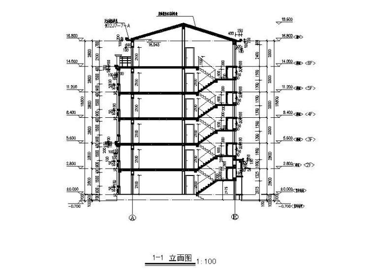 六层砖混结构新中式风格住宅建筑剖面图