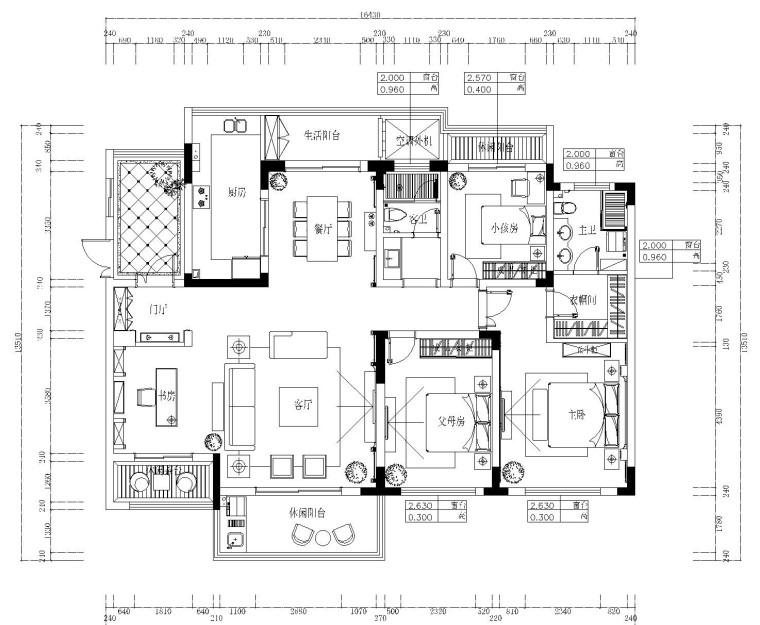 [合肥]欧式风格四居室装修施工图设计(附效果图)