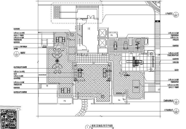 架空层铺装及索引平面图