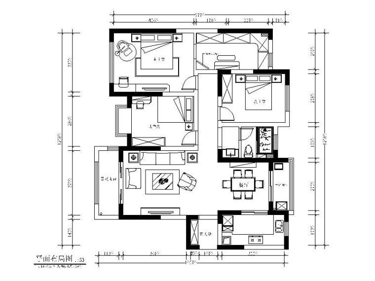 [江苏]美式风格样板房设计CAD施工图(含效果图)