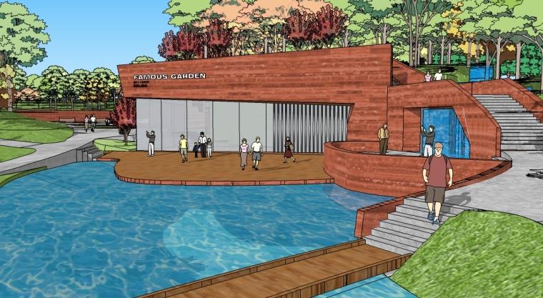 麓湖公园北网球中心SU模型