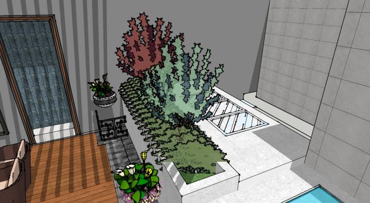 新中式庭院设计SU模型-场景四